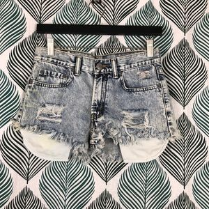 Levis 514 Cut Off Denim Acid Wash Distressed Short
